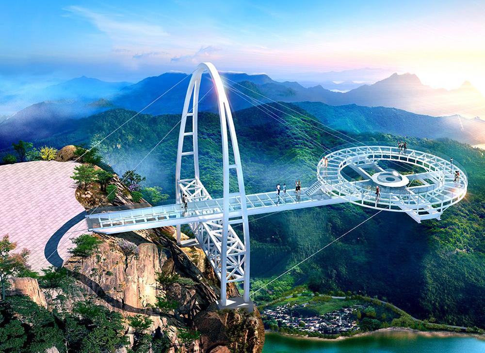 """北京市 建成世界最長 """"鈦合金飛碟 """" 玻璃觀景台 """"五月一號 """"迎客"""