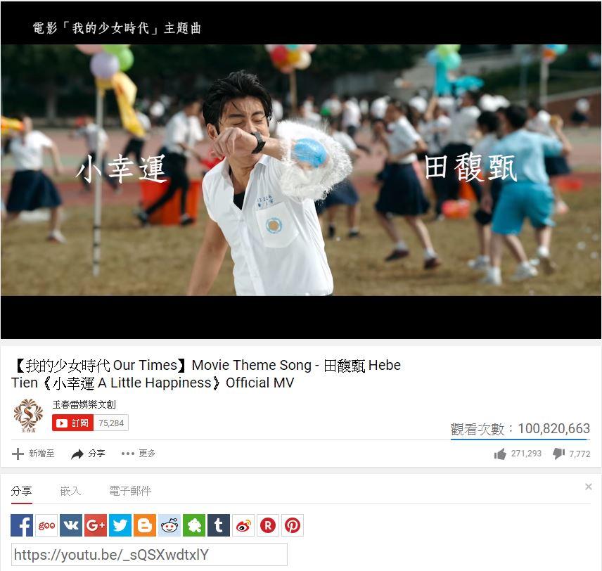 田馥甄獻唱的主題曲「小幸運」 目前在影音網站YouTube點閱率突破1億次,  成為台灣第一首破億歌曲。
