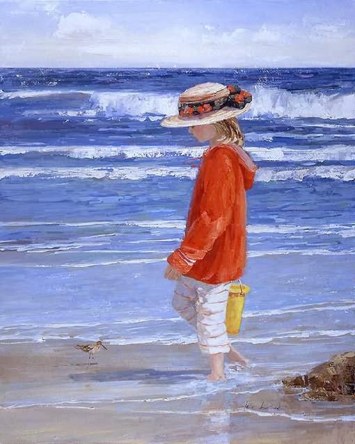 海灘兒童,油畫
